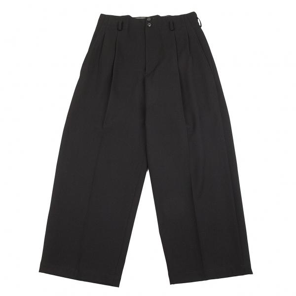 ワイズY's 2タックウールギャバワイドパンツ 黒L位【中古】 【レディース】