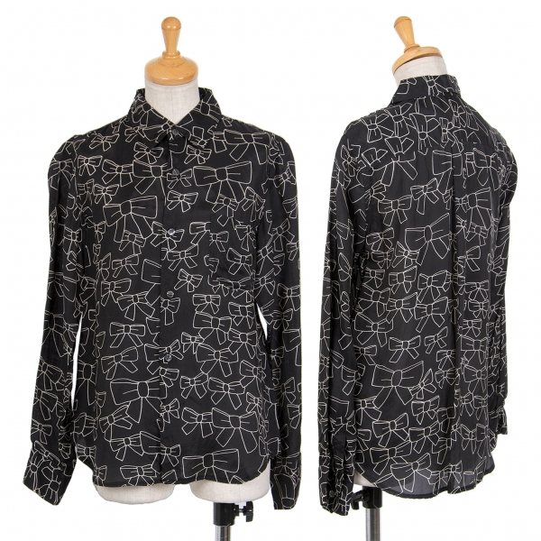 コムコム コムデギャルソンCOMME des GARCONS キュプラリボン柄プリントシャツ 黒生成りSS【中古】 【レディース】