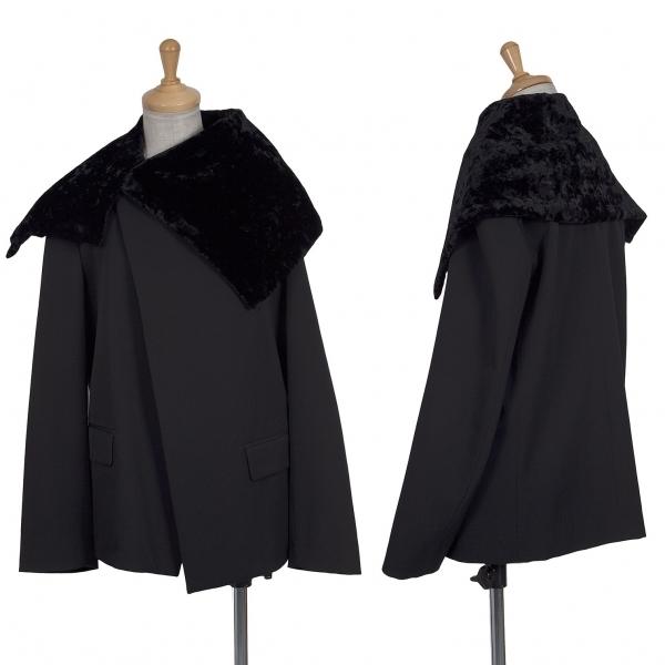 トリココムデギャルソンtricot COMME des GARCONS ベルベットカラーウールジャケット 黒M【中古】 【レディース】