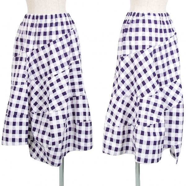 トリココムデギャルソンtricot COMME des GARCONS コットンブロックチェック切替スカート 紫白M位【中古】 【レディース】