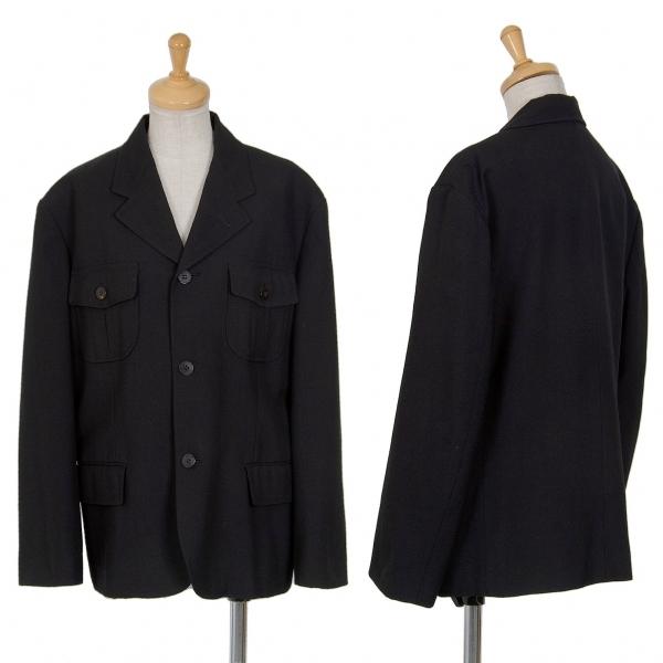 トリココムデギャルソンtricot COMME des GARCONS ウールサージフラップポケットジャケット 黒M位【中古】 【レディース】