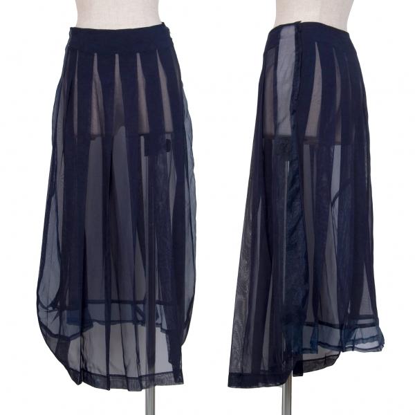 コムデギャルソンCOMME des GARCONS ポリシースルー切り替えプリーツスカート 紺S【中古】 【レディース】