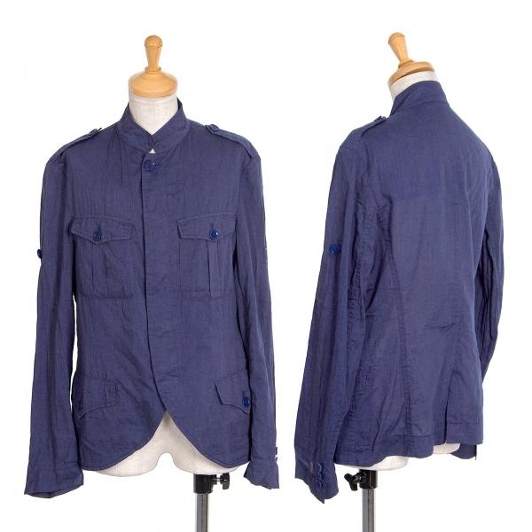 ワイズY's コットンウールシルク薄手ミリタリーシャツジャケット 青2【中古】 【レディース】