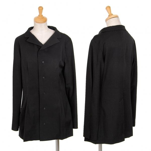 ワイズY's ウールギャバ変形ラペルジャケット 黒白3【中古】 【レディース】