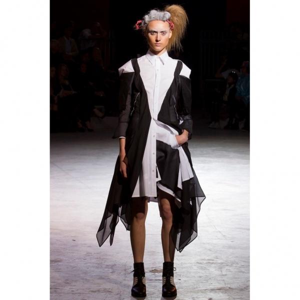 ヨウジヤマモト ファムYohji Yamamoto FEMME 配色シルク貼付けショートフレアースカート 黒白1【中古】 【レディース】