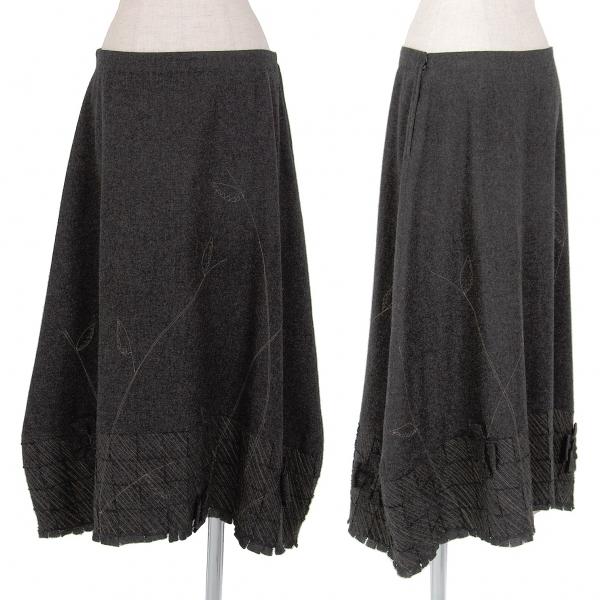イッセイミヤケ ハートISSEY MIYAKE HaaT ウールフェルト刺繍スカート グレー3【中古】 【レディース】