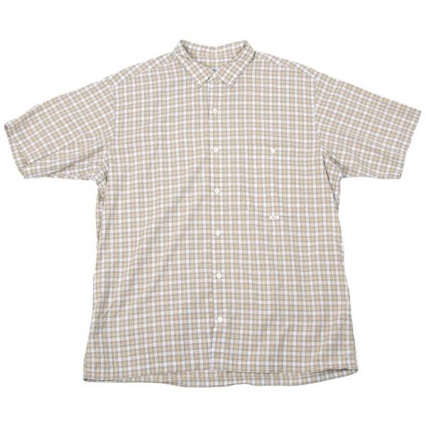 パパスPapas チェック半袖コットンシャツ 水色カーキ他L【中古】 【メンズ】