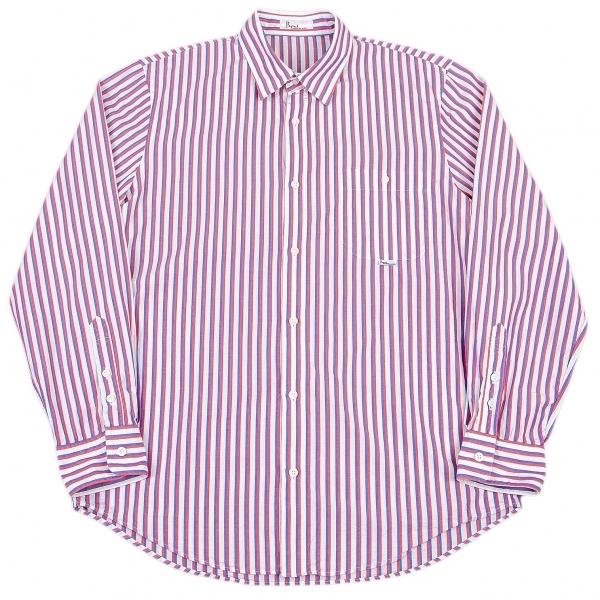 パパスPapas オルタネイトストライプシャツ 白赤紺48M【中古】 【メンズ】