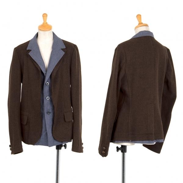 新品!ワイズY's ツィードリネンレイヤードデザインジャケット 茶青2 【レディース】