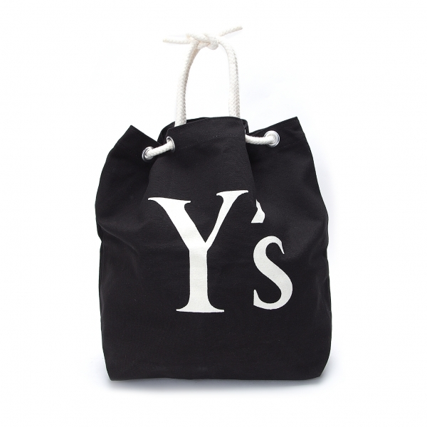 ワイズY's ビッグロゴプリント帆布ハンドバッグ 黒【中古】 【レディース】