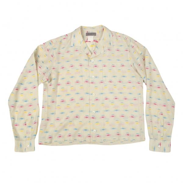 ヨウジヤマモト プールオムYohji Yamamoto POUR HOMME フラワージャカードオープンカラーシャツ 淡ベージュピンクM【中古】 【メンズ】