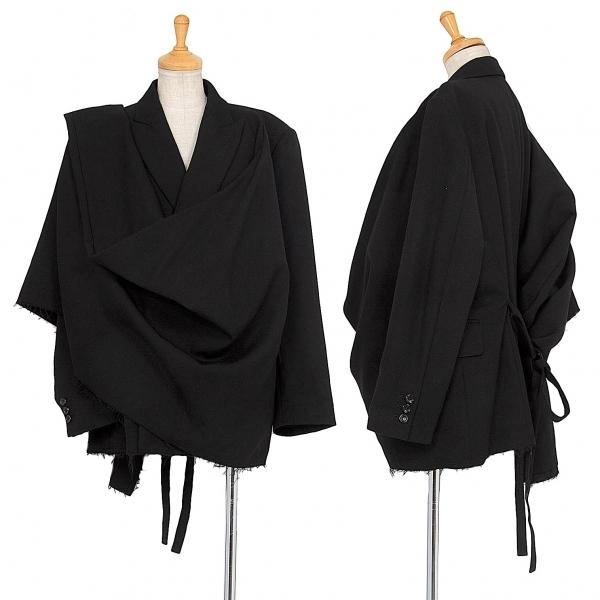 コムデギャルソンCOMME des GARCONS ウールアシンメトリーマントデザインジャケット 黒XS【中古】 【レディース】