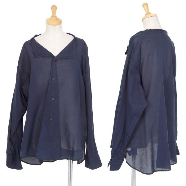 ワイズY's コットンガーゼ裁ち切りノーカラーシャツ 紺1【中古】 【レディース】