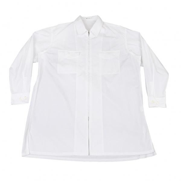 ワイズフォーメンY's for men コットンビッグシルエットジップアップシャツ 白M位【中古】 【メンズ】