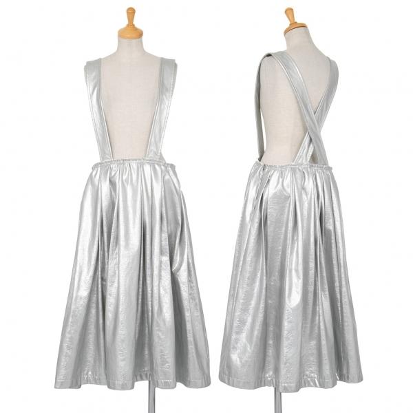コムデギャルソンCOMME des GARCONS フェイクレザーメタリック吊りスカート シルバーXS【中古】 【レディース】
