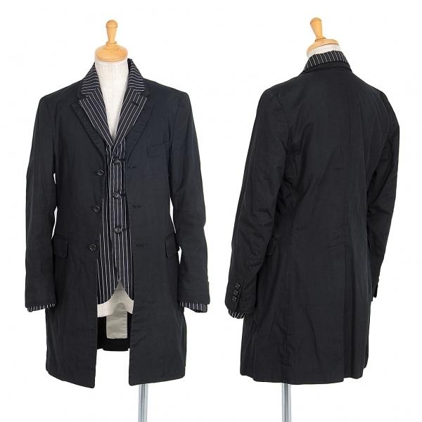 コムデギャルソンCOMME des GARCONS コットンレイヤードロングジャケット 紺白XS【中古】 【レディース】