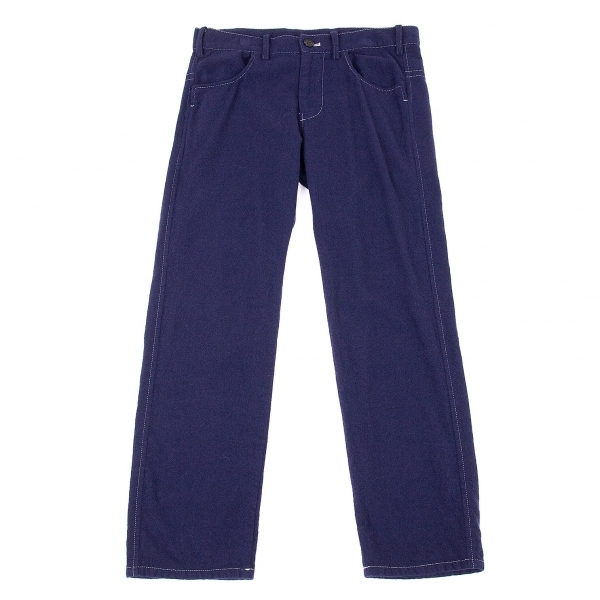 ワイズY's フラノウールステッチシンチバックパンツ 紺1【中古】 【レディース】