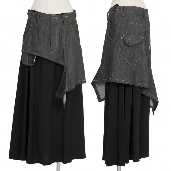 新品!ワイズY's デニムレイヤードデザインスカート ブラック2 【レディース】