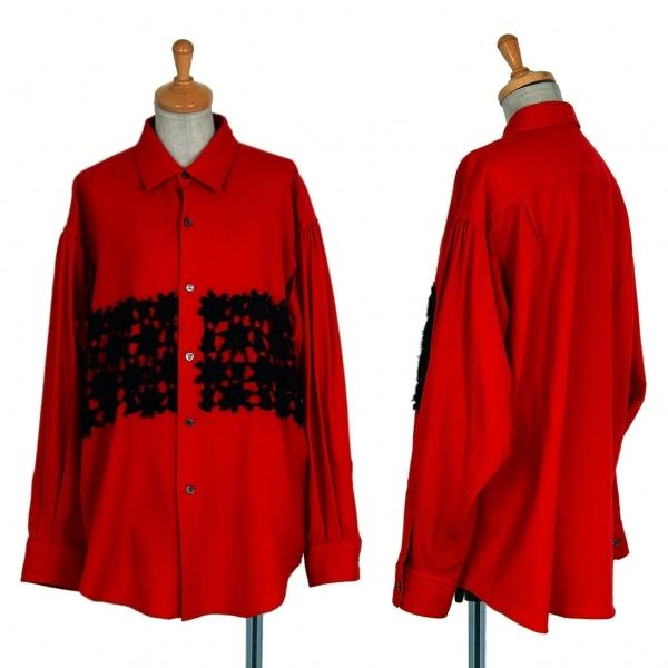 コムデギャルソンCOMME des GARCONS ウールレース貼り付け脇開きシャツ 赤黒M位【中古】 【レディース】
