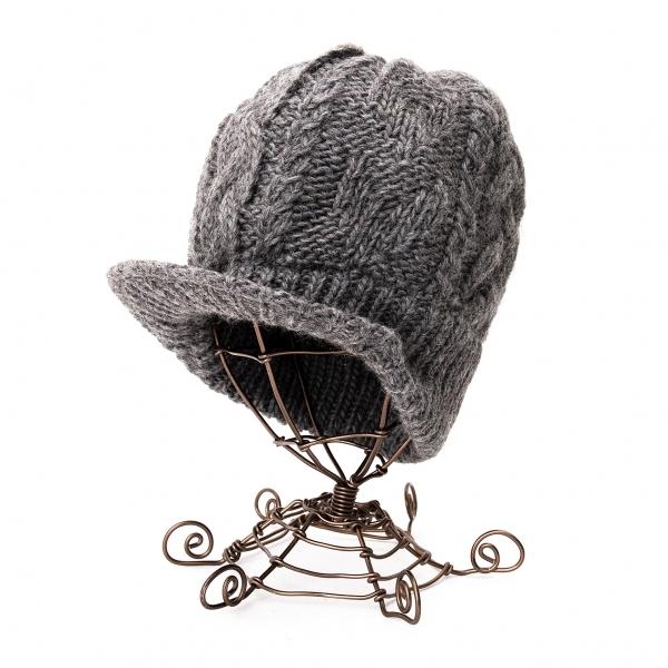 ワイズY's つば付きローゲージニット帽 グレー【中古】 【レディース】