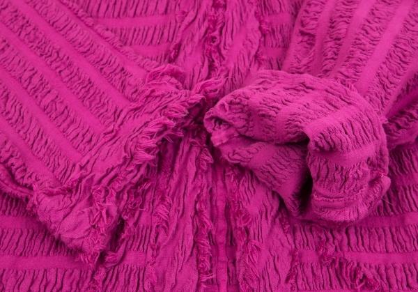 イッセイミヤケ ミーISSEY MIYAKE me シャーリング織りストレッチ1Bジャケット 濃ピンクM位レディースP08nwOkX