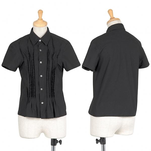 トリココムデギャルソンtricot COMME des GARCONS フロント裁ち切りピンタック半袖シャツ 黒S【中古】 【レディース】