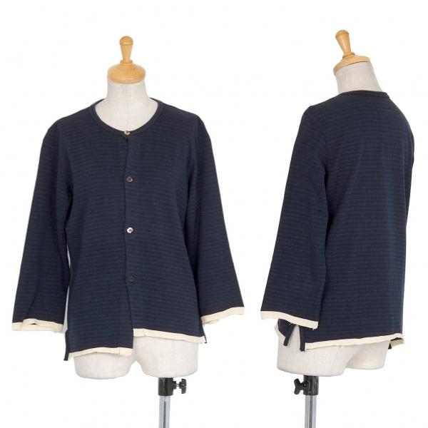 ワイズY's 裾配色ボーダーカーディガン 紺グレー3【中古】 【レディース】