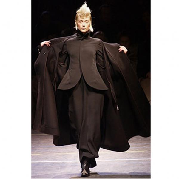 ヨウジヤマモト ファムYohji Yamamoto FEMME ウールオールドギャバジップアップスタンドカラージャケット 黒1【中古】 【レディース】
