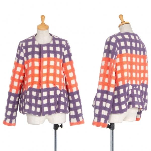 ミントデザインズmintdesigns 起毛チェックノーカラージャケット 生成り紫他M位【中古】 【レディース】