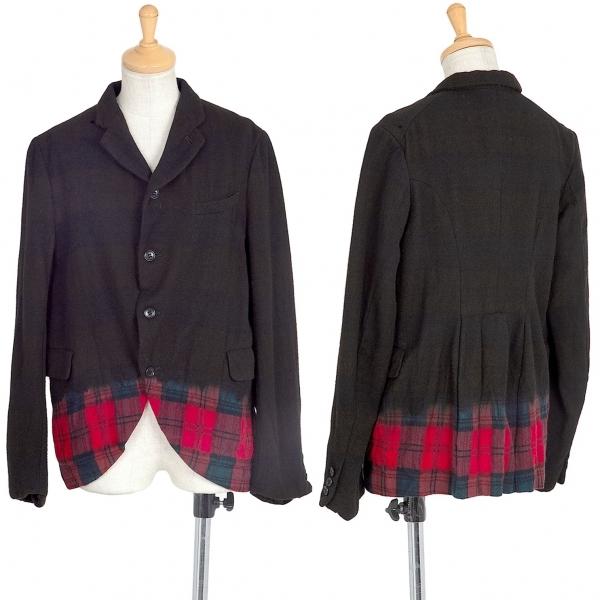 ブラックコムデギャルソンBLACK COMME des GARCONS チェック染めウールジャケット 黒赤M【中古】 【レディース】