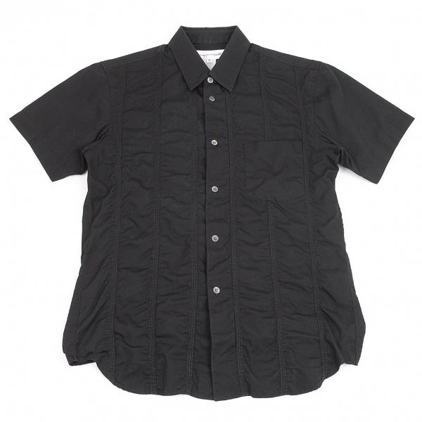 コムデギャルソン シャツCOMME des GARCONS SHIRT フロントパッカリング切替デザイン半袖シャツ 黒M【中古】 【メンズ】