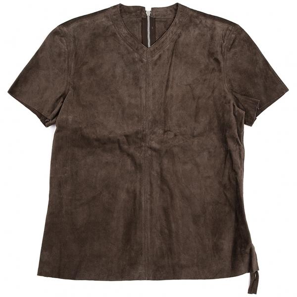 ジャンポールゴルチエ オムJean Paul GAULTIER HOMME スウェードレザーサイドジップTシャツ 茶48【中古】 【メンズ】