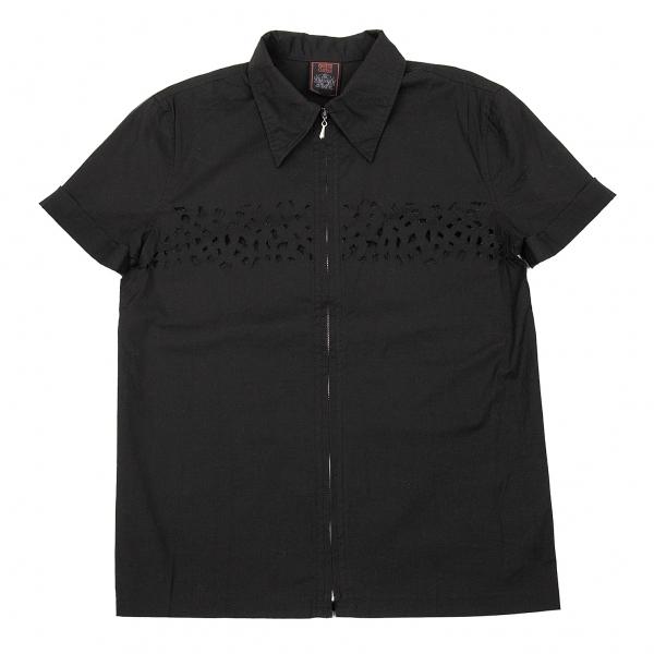 ジャンポールゴルチエ クラシックJean Paul GAULTIER CLASSIQUE カットデザインジップ半袖シャツ 黒48【中古】 【メンズ】