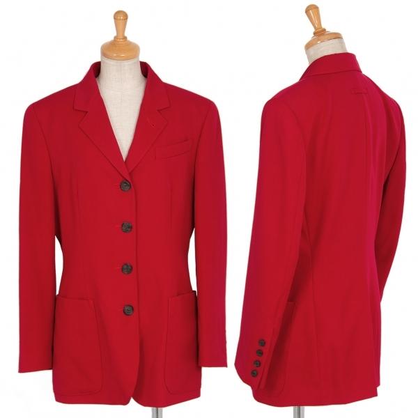 ジャンポールゴルチエ クラシックJean Paul 百貨店 GAULTIER 早割クーポン CLASSIQUE 赤42 レディース 中古 ウールギャバパッチポケットジャケット