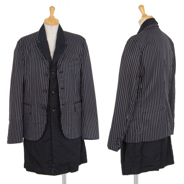 コムデギャルソンCOMME des GARCONS ストライプレイヤードデザインジャケット 黒S【中古】 【レディース】