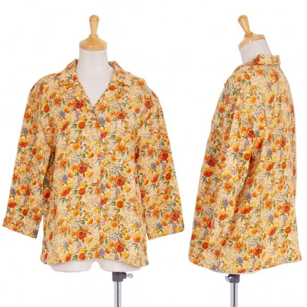 マドモアゼルノンノンMademoiselle NON NON リネンフローラルプリントジャケット オレンジ緑40L【中古】 【レディース】