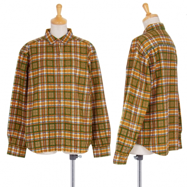 マドモアゼルノンノンMademoiselle NON NON コットンチェックプリントネルシャツ 緑オレンジ40L【中古】 【レディース】
