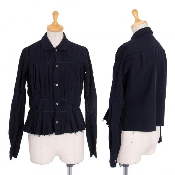 コムコム コムデギャルソンCOMME des GARCONS エステル製品染めプリーツ叩き付けデザインラウンドカラーシャツ 紺SS【中古】 【レディース】