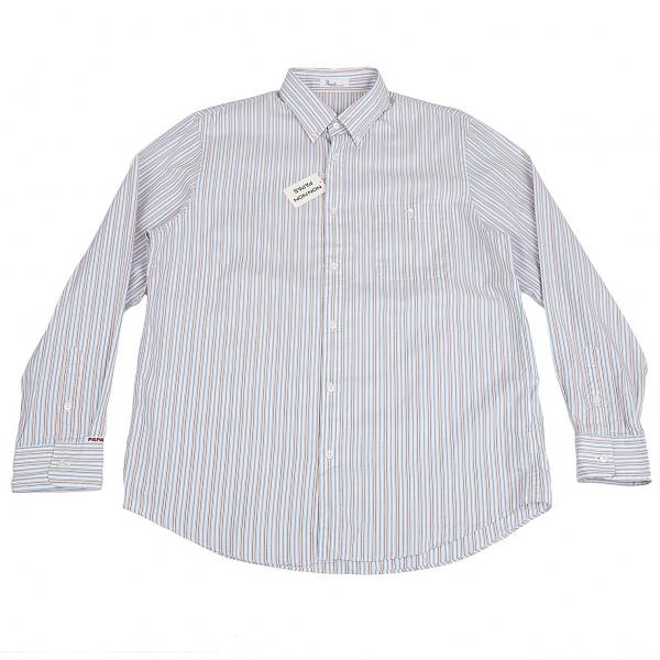 パパスPapas マルチストライプコットンシャツ 白青黄52LL【中古】 【メンズ】