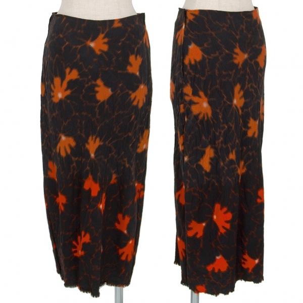 コムデギャルソンCOMME des GARCONS プリント製品染めウールスカート 黒オレンジM【中古】 【レディース】