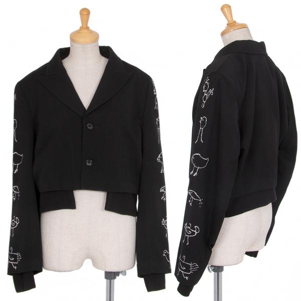 コムデギャルソンCOMME des GARCONS 袖鳥刺繍レイヤードジャケット 黒M【中古】 【レディース】