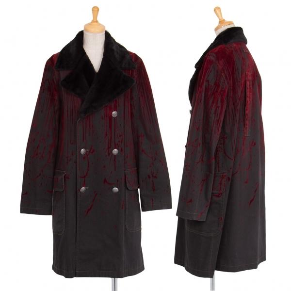 ゴルチエジーンズGAULTIER JEAN'S フロッキースプラッシュプリントファー襟コート チャコール赤40【中古】 【レディース】