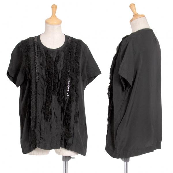 トリコ コムデギャルソンtricot COMME des GARCONS フロントフリル装飾キュプラTシャツ 黒M【中古】 【レディース】