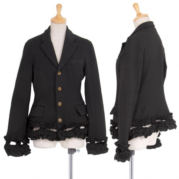 コムデギャルソンCOMME des GARCONS 製品染めエステル裾フリル装飾ジャケット 黒S【中古】 【レディース】