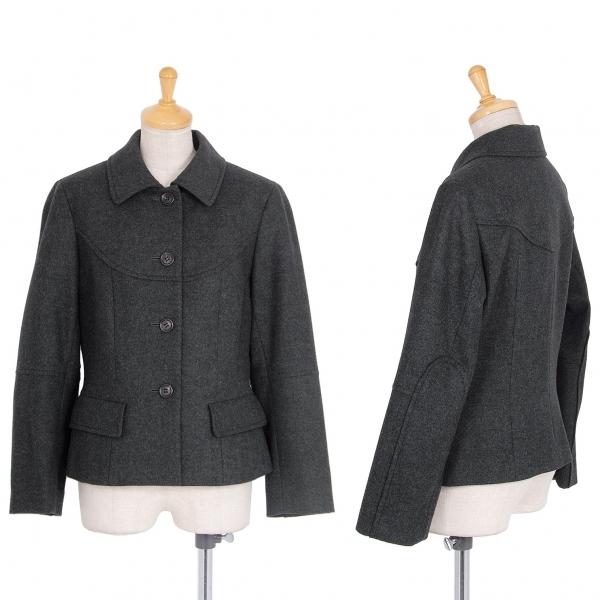 ヨシエイナバyoshie inaba メルトンウール切替デザインジャケット グレー9【中古】 【レディース】