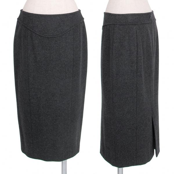 ヨシエイナバyoshie inaba メルトンウール切替デザインスカート グレー9【中古】 【レディース】