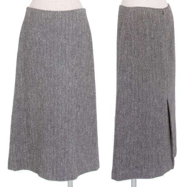 ヨシエイナバyoshie inaba ヘリンボーンツイードAラインスカート 白黒9【中古】 【レディース】