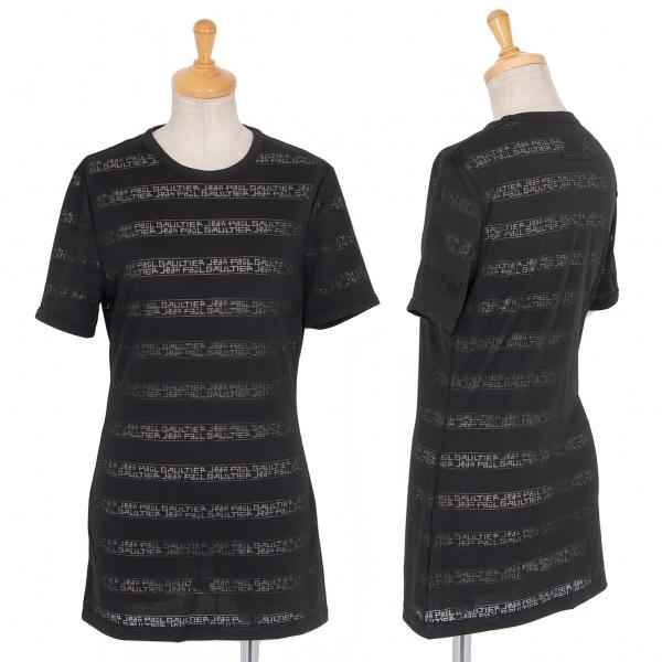 ジャンポールゴルチエ クラシックJean Paul GAULTIER CLASSIQUE 透かしロゴボーダーTシャツ 黒40【中古】 【レディース】