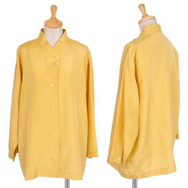イッセイミヤケISSEY MIYAKE シルクウールスタンドカラーシャツ 黄9【中古】 【レディース】