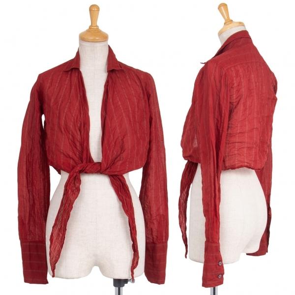 ロメオジリROMEO GIGLI ストライプシースルーショートデザインシャツ 赤40【中古】 【レディース】